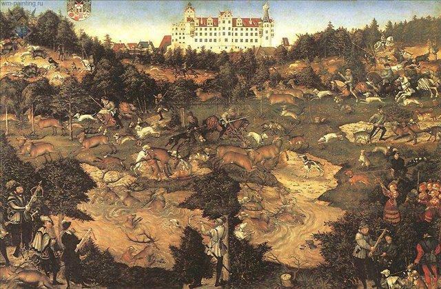 Охота в честь Карла V возле замка Торгау :: Лукас Кранарх Старший - Исторические сюжеты в живописи фото