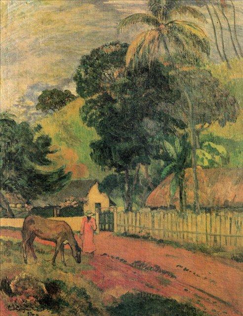 Пейзаж (Лошадь на дороге)  :: Поль Гоген - Гоген Поль ( Paul Gauguin ) фото