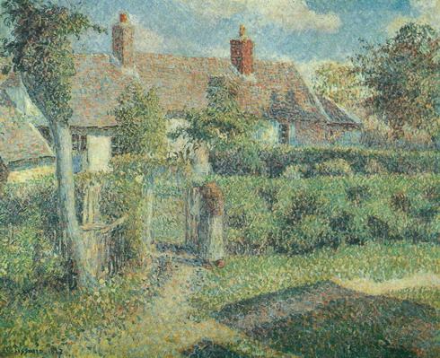 пейзаж <Крестьянские дома. Эраньи> :: Писсарро, Камиль (Pissarro, Camille)