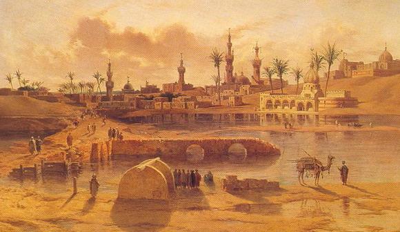 Адриэн Дузатс. Вид Даманхура в период половодья на Ниле. Середина 19 в. (Каир, Художественный музей)