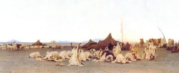 Густав Гуйллаумэ. Вечерняя молитва в Сахаре. 1863 (Париж, Музей Д'Орсэ)