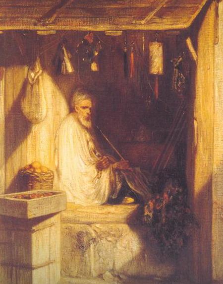 Александр Габриэль Декамп. Турецкий купец, курящий в магазине. 1844. (Париж, Музей Орсэ)