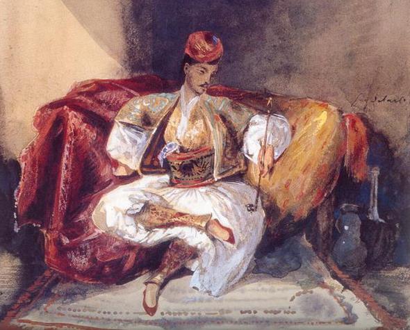 Эжен Делакруа. Курящий турок. 1824 – 1825. (Париж, Лувр).