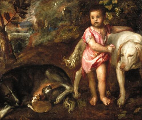Картина <Мальчик с собаками> ТИЦИАН ( TITIAN )