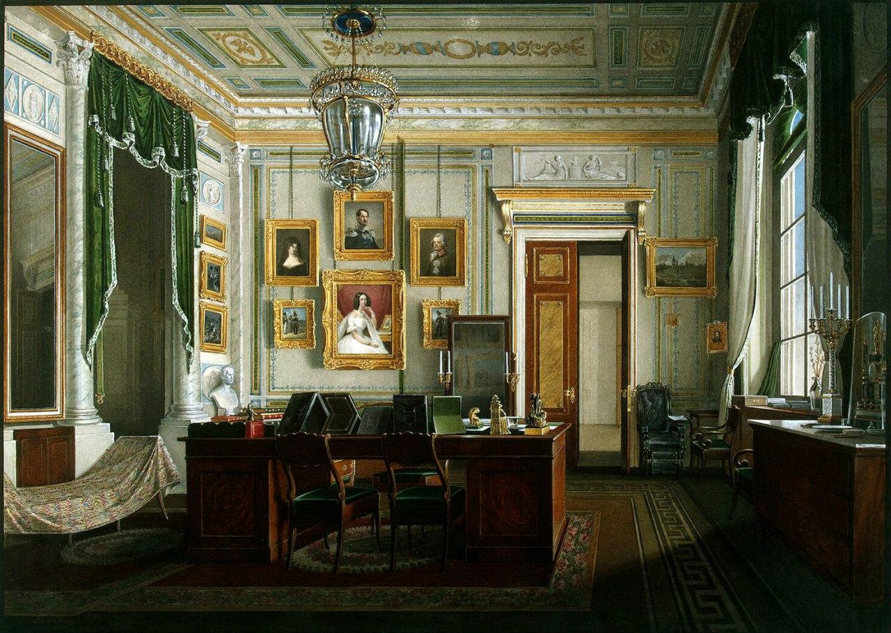 Виды залов Зимнего дворца. Кабинет императора Александра II :: Эдуард Гау - Барокко, Ампир, Возрождение, Роккоко ( дизайн интерьера) фото