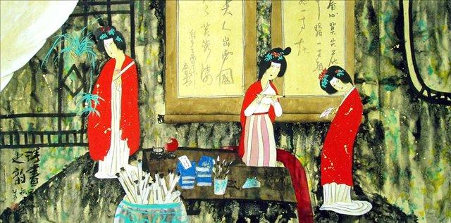 картина <Античные красавицы>, китайский интерьер :: Жао Фенг - Китай традиционная живопись Гохуа фото