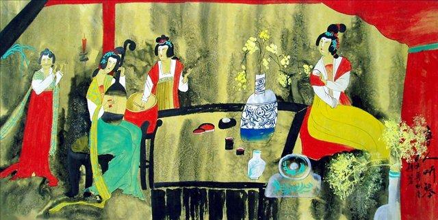 Античные красавицы в китайском интерьере 3 - Китай традиционная живопись Гохуа фото