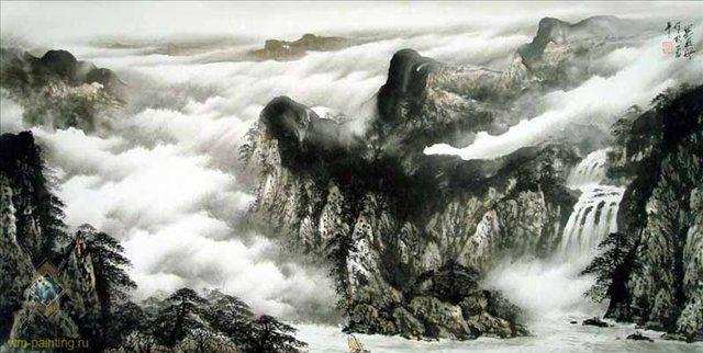 Путешествие через горы :: У Чань Янь - Китай традиционная живопись Гохуа фото