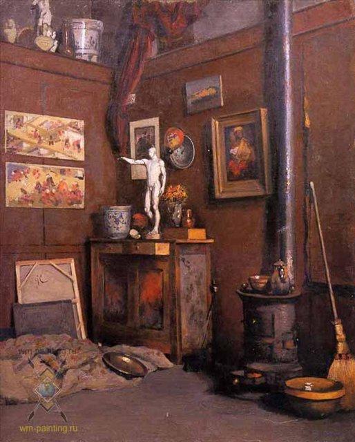 Интерьер студии с печью :: Кайебот Гюстав - по стилю дизайна интерьера фото
