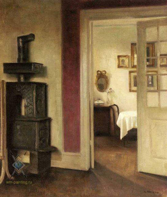 Скандинавский интерьер с печью и видом в обеденный зал :: Карл Вильгельм Хэлсоу - Скандинавский ( декор интерьера ) фото