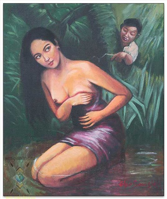 картина Противный мальчишка ( Девушка у ручья ) :: Еко Самсиди ( Бали ), описание картины  - Современная живопись Индонезии фото