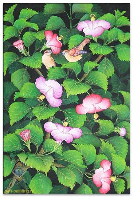 картина Комфортно ( цветы и птицы ) :: Гобанг - Современная живопись Индонезии фото