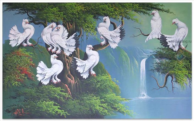 Голуби мира ( пейзаж с водопадом ) :: Гобанг ( Бали ) - пейзажная живопись фото