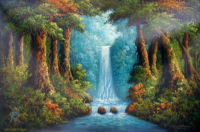 Водопад в лесу ::  Гобанг ( Индонезия, Бали ) - пейзажная живопись фото