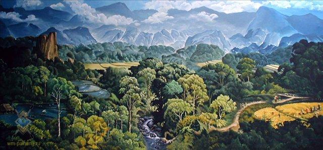 картина пейзаж Вид на горы ::  Гобанг (Индонезия, Бали ) - пейзажная живопись фото