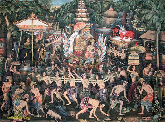 картина Церемония сожжения (кремация):: Камин - Современная живопись Индонезии фото