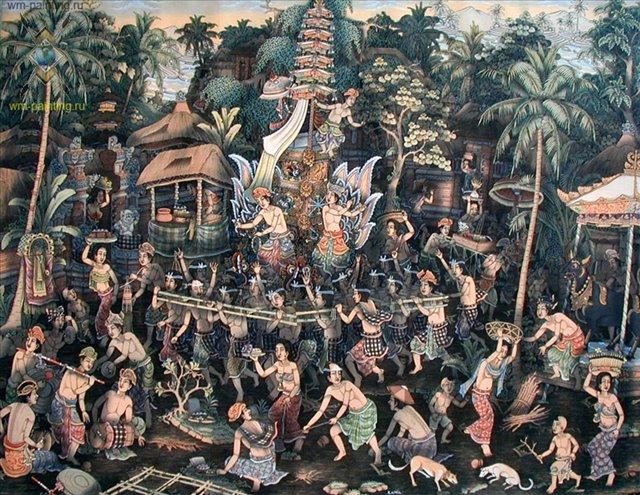 картина Церемония кремации :: Камин ( Индонезия ) - Современная живопись Индонезии фото