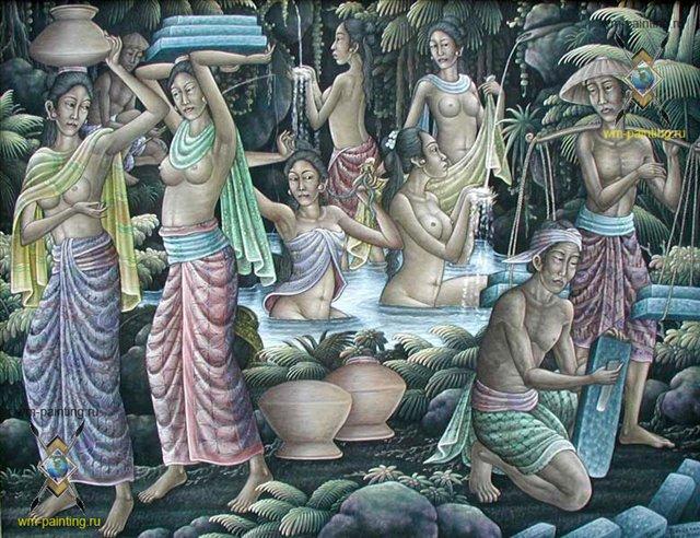 жанровая эротическая картина жители Бали у источника :: Камин (Индонезия) - Современная живопись Индонезии фото