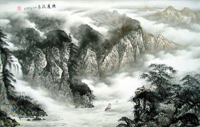 картина Путешествие через горы :: У Чань Янь ( Китай ), китайская живопись - Китайская живопись, Гохуа фото