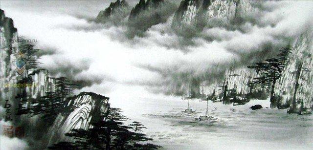 Путешествие через горы III ::  Ву Чанган ( Китай ) - Китай традиционная живопись Гохуа фото