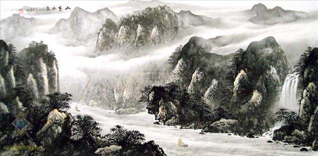 Путешествие через горы IV :: У Чань Янь ( Ву Чанган) ( Китай ) - Китай традиционная живопись Гохуа фото