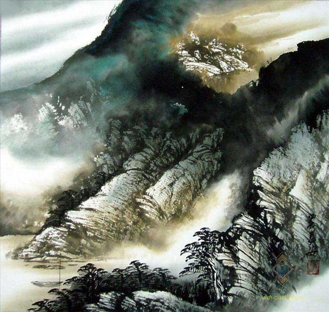 Горы и лодка :: У Чань Янь ( Ву Чанган) ( Китай ) - Китайская живопись, Гохуа фото
