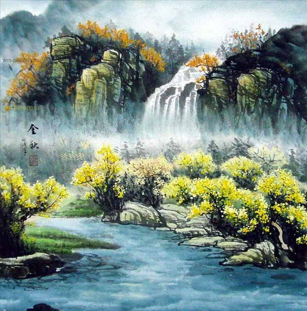 картина Водопад осенью ::  У Чань Янь ( Ву Чанган) ( Китай ), китайская живопись - Китай традиционная живопись Гохуа фото
