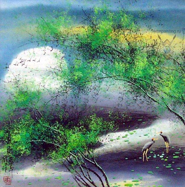 картина Летний пейзаж :: У Чань Янь ( Ву Чанган) ( Китай ), китайская живопись - Китай традиционная живопись Гохуа фото