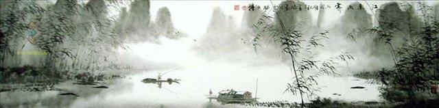 Рыбалка в дождливый день :: Лю Юнхао ( Китай ) - Китайская живопись, Гохуа фото