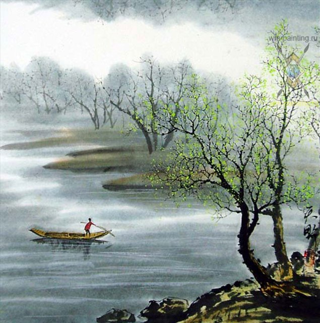 картина Весна :: Тиан Вы ( Китай ), китайская живопись - Китайская живопись, Гохуа фото