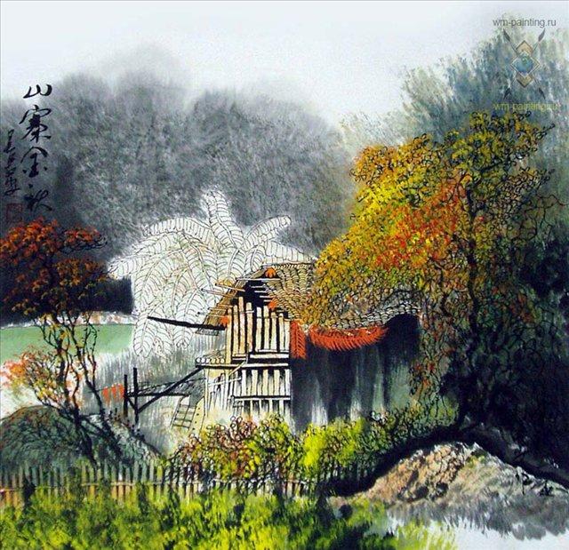 картина Осенний пейзаж ::  У Чань Янь ( Китай ), китайская живопись - Китай традиционная живопись Гохуа фото