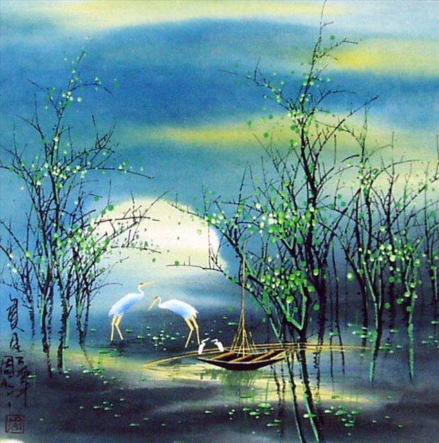 картина Летний пейзаж :: Тиан Вы, китайская живопись - Китай традиционная живопись Гохуа фото