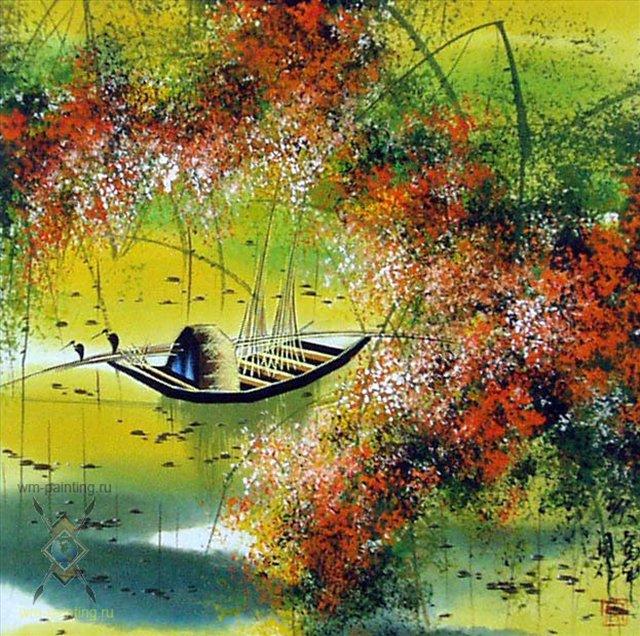 Осенний пейзаж II :: Тиан Вы ( Китай ) - Китайская живопись, Гохуа фото