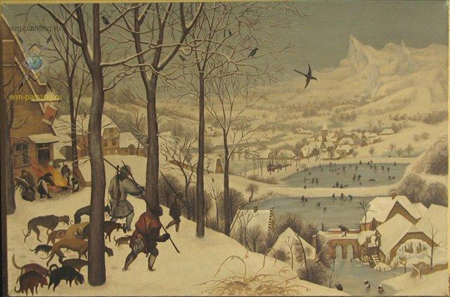 """Копия картины Питера Брейгеля """"Охотники на снегу"""" - Репродукции - копии маслом  шедевров живописи фото"""