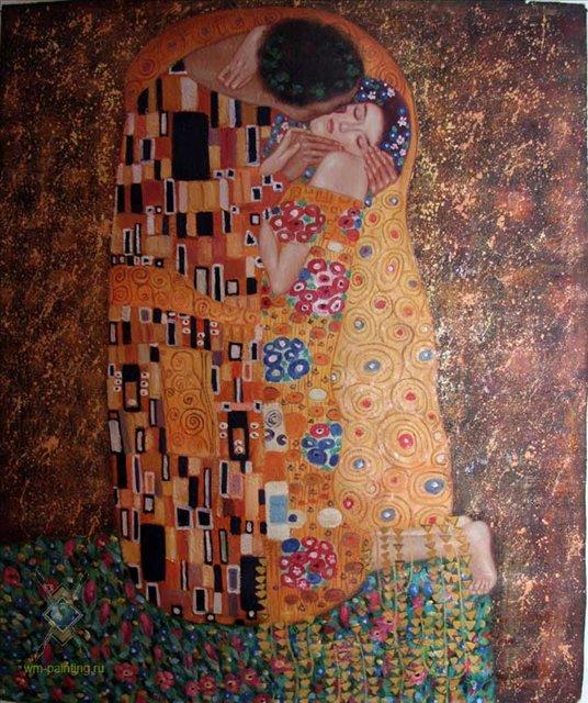 """Копия картины Густава Климта """"Поцелуй"""" - Репродукции - копии маслом  шедевров живописи фото"""