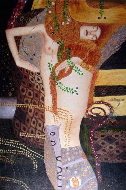"""Копия картины Густава Климта """"Водяные змеи I"""" - копии картин Климта фото"""