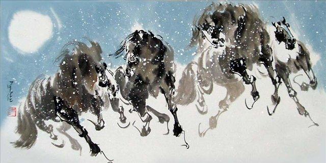 картина Четыре лошади I :: Чен Хонг  ( Китай ) - Лошади ( иппический жанр - картины с лошадьми ) фото
