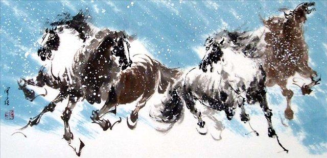картина Четыре лошади II :: Чен Хонг  ( Китай ), китайская живопись - Китай традиционная живопись Гохуа фото