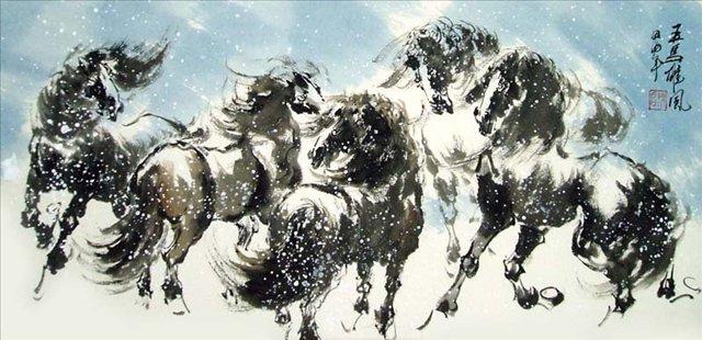 5 диких лошадей :: Чен Хонг  ( Китай ) - Китай традиционная живопись Гохуа фото