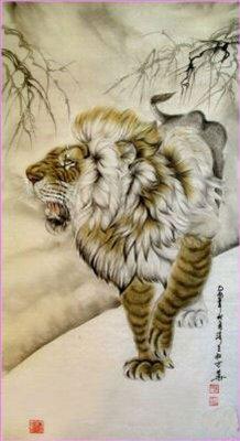 картина Тигры и львы Джанг Зешенга ( Китай ) [ Разсерженный лев ], китайская живопись - Китай традиционная живопись Гохуа фото
