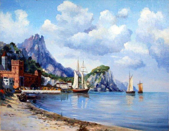 Итальянский пейзаж ( копия с картины неизвестного художника ) - копии - Морские пейзажи фото
