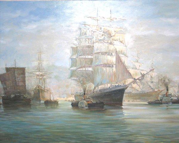 Копия картины  Монтага  Доусона Китайский  порт - копии - Морские пейзажи фото