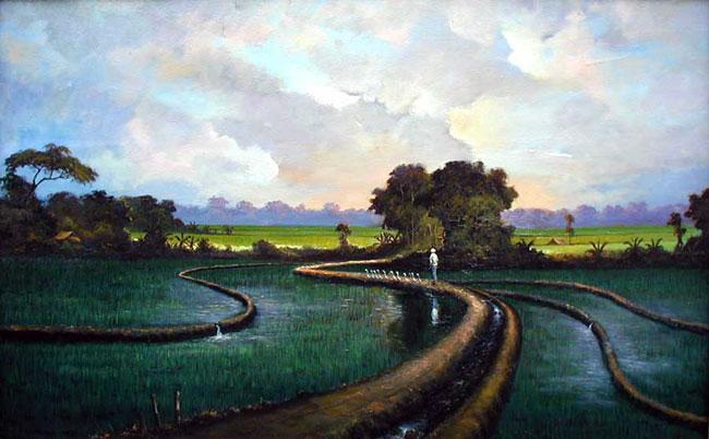 пейзаж Рисовое поле и гуси ::  Селамат ( Бали, Индонезия ) - пейзажная живопись фото