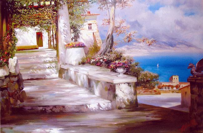 картина <Ступени, итальянский пейзаж> :: А. Милюков - Пейзажи ( пейзажная живопись ) фото