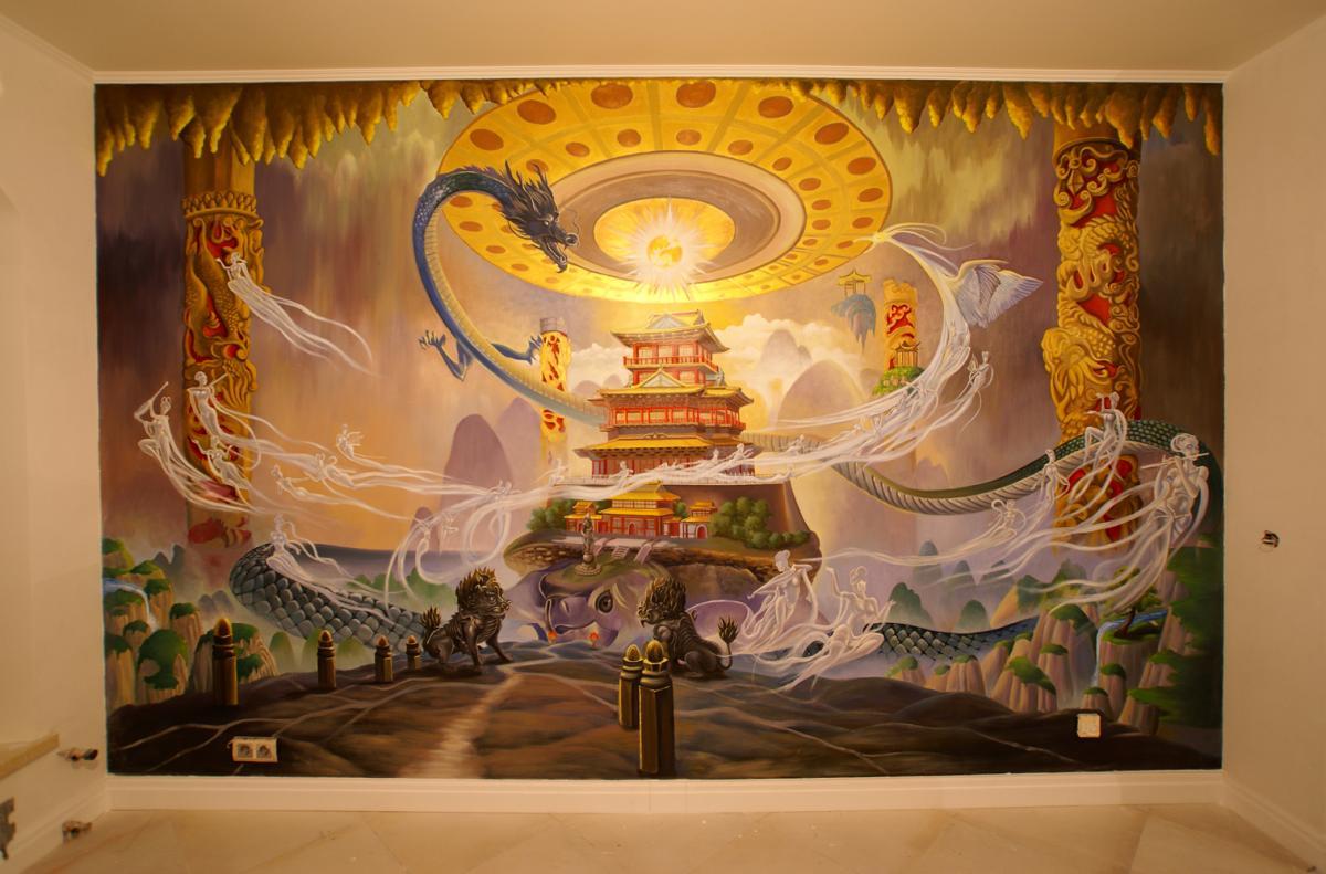 Возникновение Вселенной (буддизм) :: Харитон Купрашвили - Роспись стен и декоративно-прикладное искусство фото