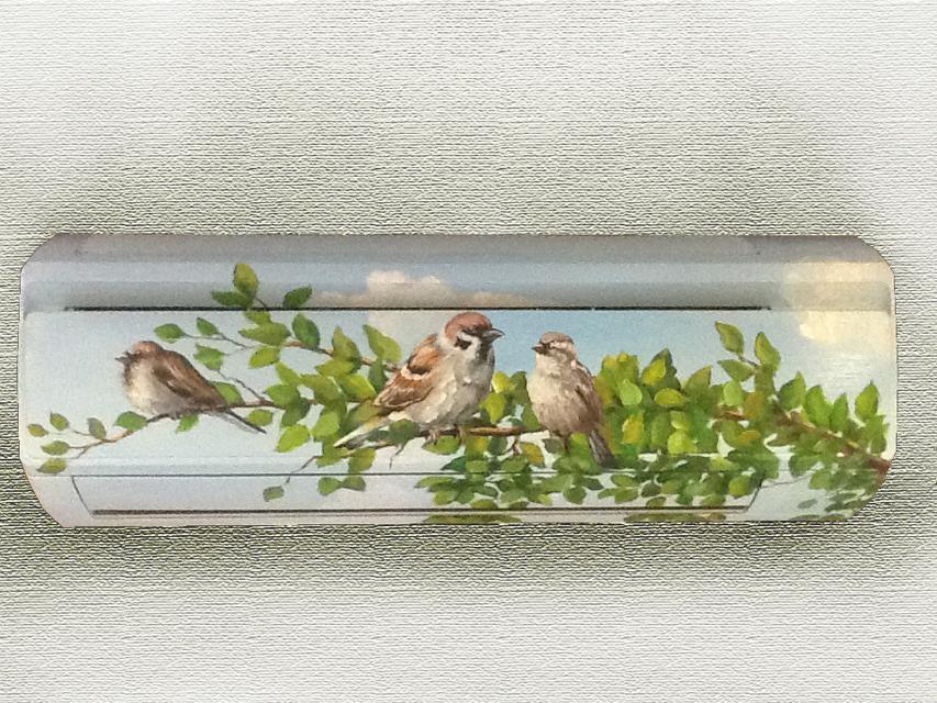 Роспись кондиционера Воробьи на ветке :: Харитон Купрашвили - Роспись стен и декоративно-прикладное искусство фото