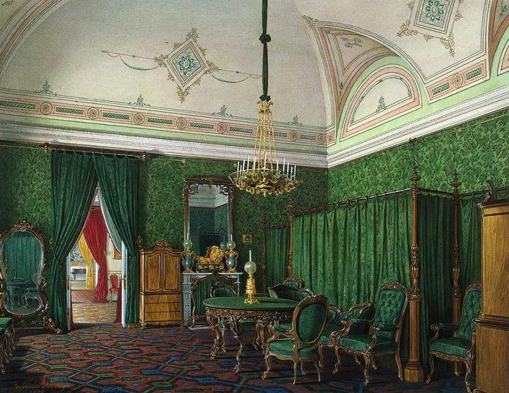 картина Виды залов Зимнего дворца. Спальня :: Эдуард Гау - Барокко, Ампир, Возрождение, Роккоко ( дизайн интерьера) фото