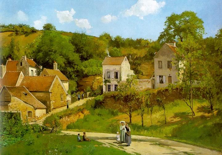 Pissarro The Hermitage at Pontoise, 1867, Solomon R. Guggenh. Писсарро, Камиль