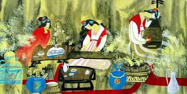гохуа Античные красавицы :: Жао Фенг, описание картины - Китайская живопись, Гохуа фото