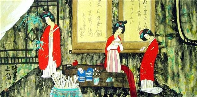 гохуа Античные красавицы, китайский интерьер :: Жао Фенг, описание картины - Китайская живопись, Гохуа фото